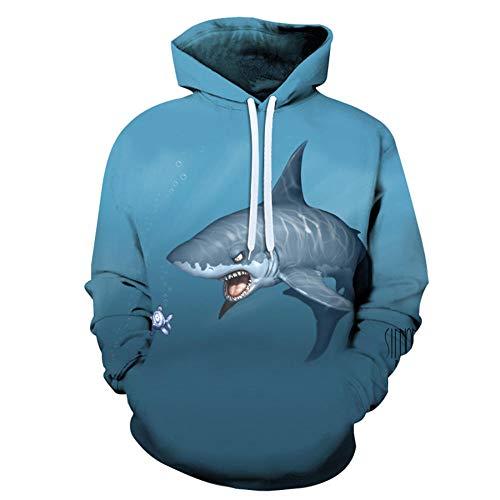 Blue 3D Ocean Shark Animal Eat Small Fish Print Mangas Largas Sueltas,Jersey con Capucha para Hombre,Top con...