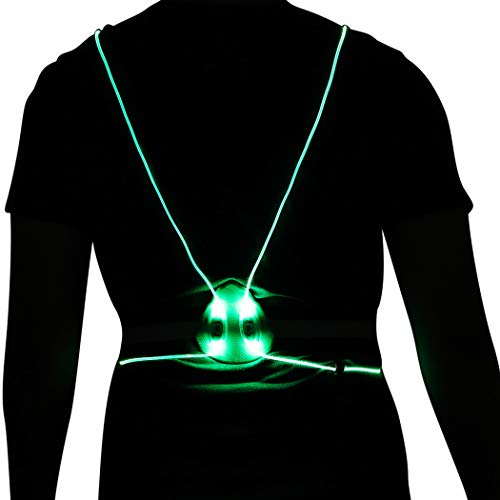Heread LED Running Light Reflective Vest Illuminated Safety Gear High Visiblity Night Lights Multicolored Fiber Optics Night Sports Vests Running Walking Cycling for Women and Men (Green Light)
