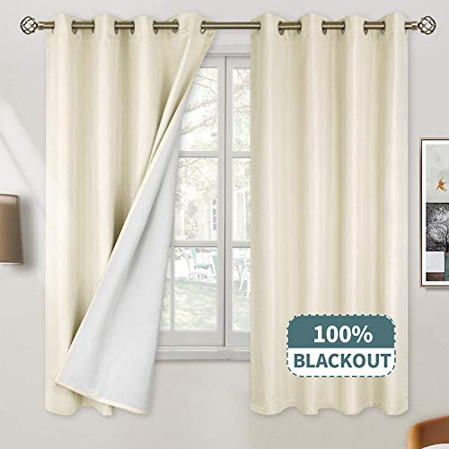 BGment 100% Blackout Curtains for Bedroom, Grommet Jacquard Thermal Insulated Total Room Darkening Curtains for Living Room with Bonded Lining, 2 Panels (Each 52 x 63 Inch, Beige)
