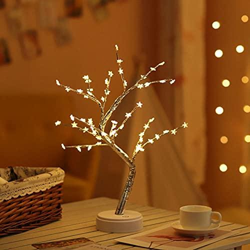 Lámparas de mesa de alambre de cobre con luz de árbol, luz de hada, árbol de Navidad, decoración del hogar, lámparas de mesa, lámpara de árbol de flores LED, escritorio DIY Bonsai lámpara de árbol