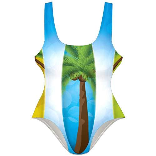 TIZORAX Damen Badeanzug Surfboard Einteiler Bademode Badeanzug Gr. S, Mehrfarbig