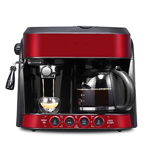 Ekspres do kawy Półautomatyczny ekspres do kawy Domowy Mały inteligentny ekspres do kawy Filtr wielofunkcyjny Dwufunkcyjny ekspres przelewowy czerwony
