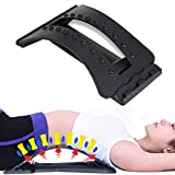 Back Stretching Device, Lumbar Back Pain Relief Stretcher, Adjustable Multi-Level Lower and Upper Back Massager Posture Corrector and Support Arch for Bed, Chair, Car