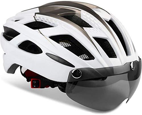 KINGLEAD Casco de Bicicleta con Luz de Seguridad y Visera de Protección,...