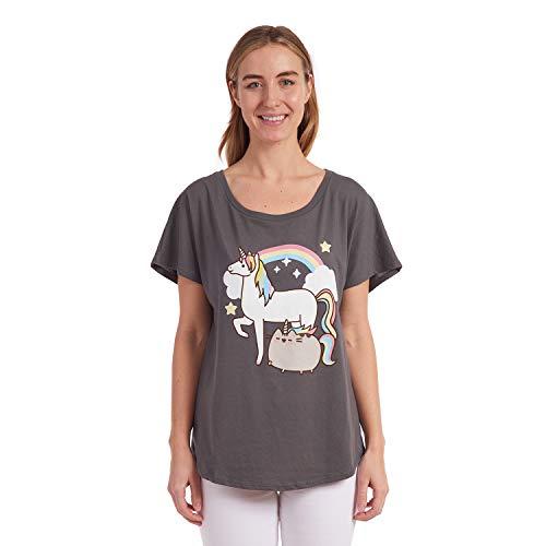 Pusheen The Cat Shirt for Girls Juniors Short Sleeve Flowy Top T-Shirt (Small) Dark Grey