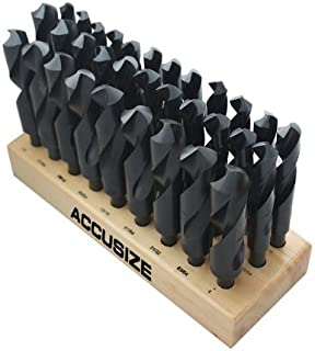 Accusize Industrial Tools 32 Pcs Hss 1/2'' Shank S&D Drill Set, 33/64'' to 1'' by 64Ths, Silver and Deming Drill, H516-6506