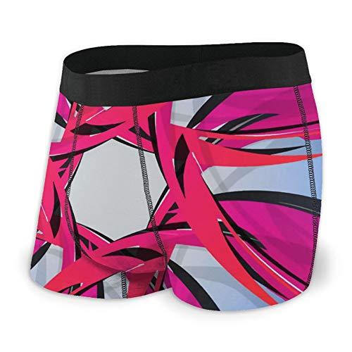 Boxershorts für Herren in Kreisform, Pink, Blau, bequem, Stretch, Bademode, für Jungen, Ganzjahresunterwäsche, M-2XL Gr. XL, Schwarz