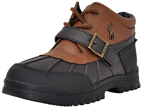Polo Ralph Lauren Boys Dover Boot, Chocolate/Tan Leather, 5 Big Kid