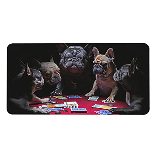 Leather Mouse Pad Desk Mat Funly French Bulldogs Playing Cards Large Pu Desk Office Gaming Waterproof Desk Mat for Desktop 31.5'X15.7'