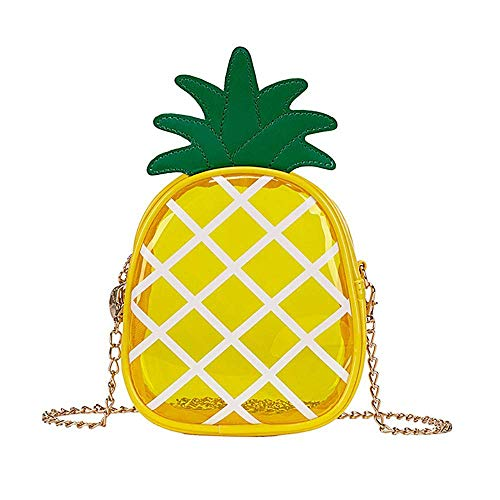 Bolsa de Piña Transparente Bolso para Hombro Bolsa para Teléfono Cartera Cadena con Cremallera Bolso de Mano Estilo Fruta (Amarillo)
