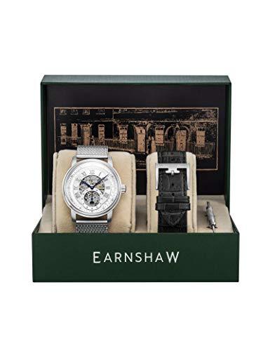 Reloj Earnshaw de malla milanesa para hombre, color plateado