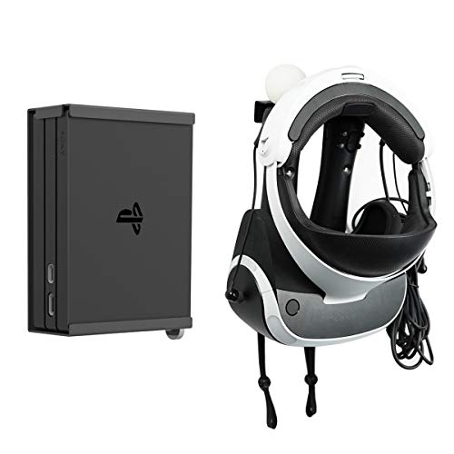 Monzlteck Wall Mount for ps4 VR (gen2), Headset,Move Controller Holder+Processor Unit Wall Mount