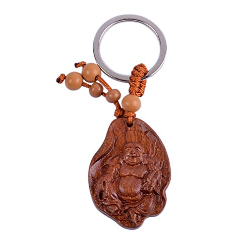 Feng Shui Peach Wood Laughing Buddha Statue Keychain Chinese Wood Carved Amulet + Free Red String Bracelet SKU:M1074