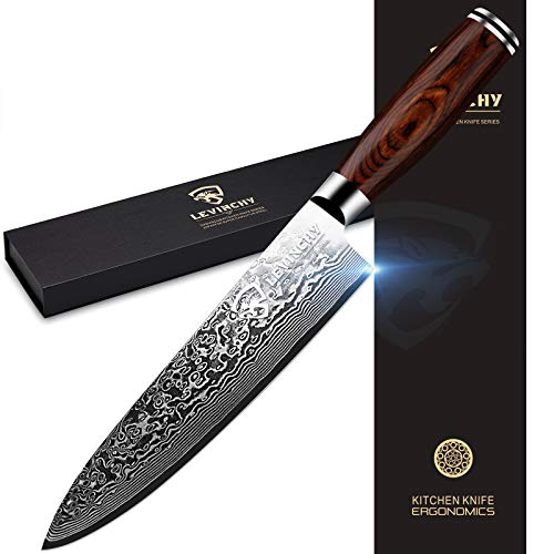 LEVINCHY Damascus Chef's Knife 8 inch Professional Japanese Damascus Stainless