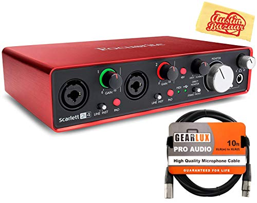Focusrite Scarlett 2i4 USB Audio Interface Bundle with XLR Cable and Austin Bazaar Polishing Cloth