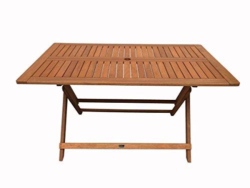 Mesa plegable en madera exótica Hong Kong - Maple - 135 x 80 cm - Marrón claro