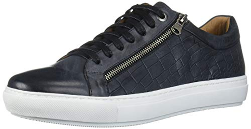 Brothers United Men's Genuine Leather Luxury Lace Up Fashion Sneaker with Zip Detail, Black Washed Nappa/Crocodile, 9.5 M US