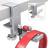 aceyoon Headset Stand, Support Casque en Aluminium Pose Casque Pliable et Réglable Porte Casque Bureau avec Organiseur de Câble pour Casque Gaming etc (Argent)