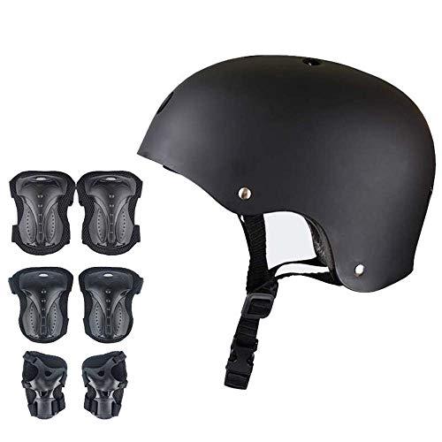 JXS Apoyos para Adultos Deportes de protección Gear Set-Rodilla, la muñeca Cascos, Guantes-ABS de Alta dureza Shell Transpirable Forro-para Patín de Ruedas Scooters de Bicicletas
