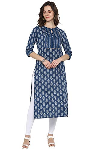 Janasya Indian Women's Blue Pure Cotton Kurta(J0096-KR-L)