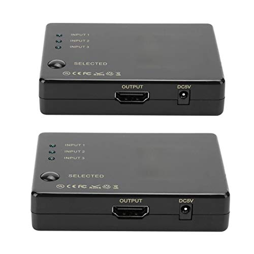 HDMI Switch & Selector Boxes, 4Kx2K 3 In 1 Out 1080P 12-Bit HDMI Switcher Box, TV Gaming Display Audio/Video Selector Box voor Blu-ray DVD, Satelliet TV, voor PS3, Blu-ray-speler, voor Xbox360
