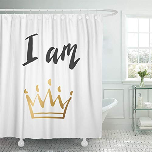 JOOCAR Design Duschvorhang, Hand Lettering I Am Queen King Gold Crown Decorating, Waterproof Cloth Fabric Bathroom Decor Set with Hooks