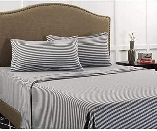 Mainstays` Jersey Knit Sheet Set (Grey Stripe, Queen)