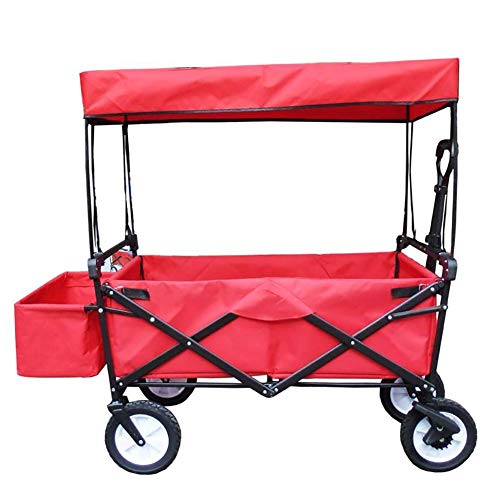 CRZJ Chariot de Transport Pliable Plage, Pêche en Plein air Petit Chariot, Pliable, La Charge est jusqu'à 80 kg, Convient pour Les Jardins, Le Camping, Les Voyages