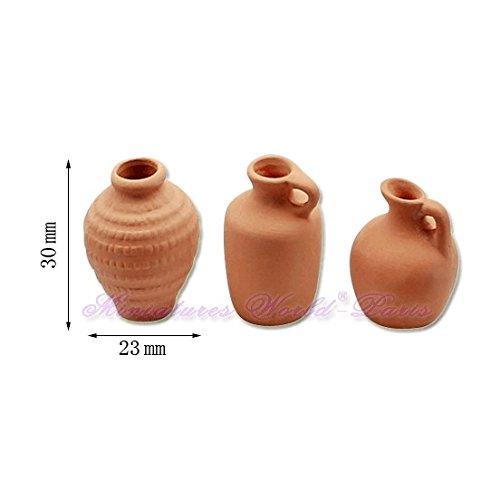 Miniatures World - 3 Terracotta potten voor miniatuurdecors en poppenhuizen in schaal 1:12