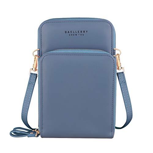 Jangostor Billetera pequeña con bolso de Crossbody, bolso para el teléfono celular con ranuras para tarjetas de crédito (Blue-B)