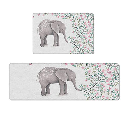 Prime Leader 2 Piece Kitchen Rugs Set Non-Slip Floor Mat Spring Flowwer, Elephant Best Mother PVC Cushioned Comfort Rugs - Kitchen Mat/Floor Mat/Bath Rug - Waterproof Wipe Clean