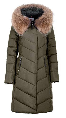 Grimada 827 dames winterjas lang met echt bont aan de capuchon (lengte ca. 100 cm).