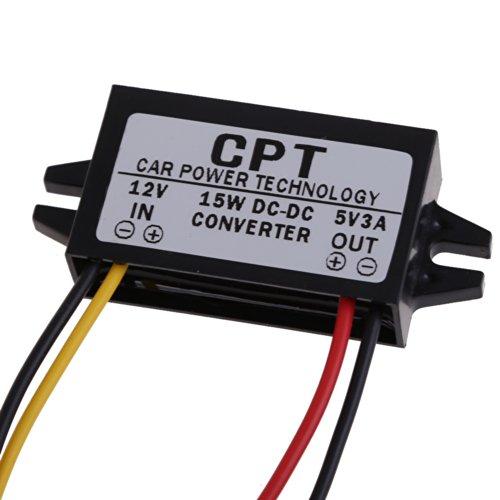 Everpert Convertisseur de puissance de voiture DC vers DC Convertisseur régulateur 12 V vers 5 V 3 A 15 W Affichage LED Alimentation