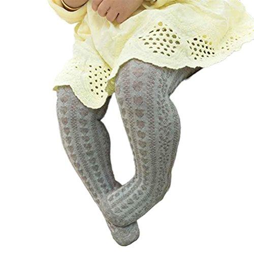 Baby Girl Body-Stocking Mesh Tights Cotton Cute Children Stocking Baby Pantyhose (L, Gray)