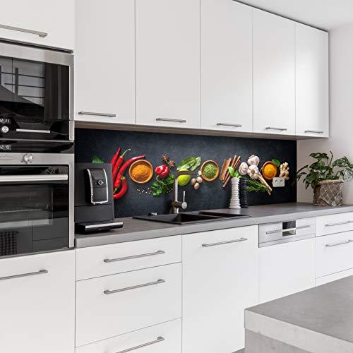 Dedeco Küchenrückwand Motiv: Gewürze V2, 3mm Acrylglas Plexiglas als Spritzschutz für die Küchenwand Wandschutz Dekowand wasserfest, 3D-Effekt, alle Untergründe, 260 x 60 cm