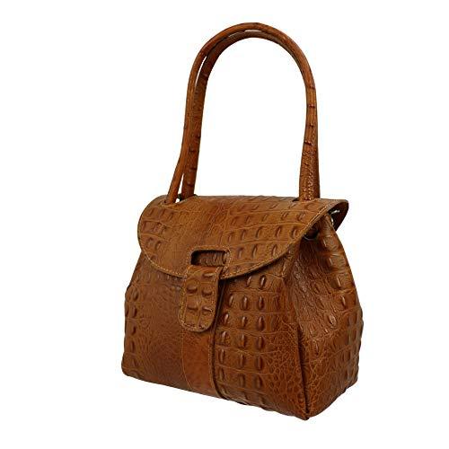 SH Leder Echtleder Schultertasche Handtasche Genarbte Leder 27x21cm Vanessa G222 (Cognac Kroko)