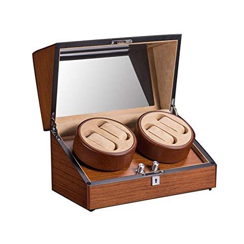 Caja de almacenamiento automática de madera de lujo, motor silencioso 4 modos de rotación, 100% hecho a mano, para 4 relojes de pulsera (color marrón, tamaño: 34 x 19 x 19 cm)