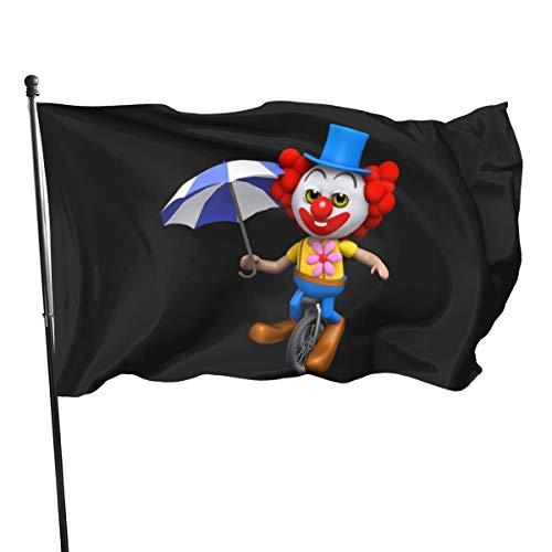 N/D 3D-Clown-Einrad-Banner, 3 x 5 cm