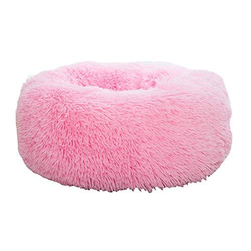 ASDFGT-778 Super weiche Haustier Bett Kennel Hund Runde Katze Winter Warme Schlafsack Lange Plüschwelpen Kissenmatte Tragbare Katze Zubehör 46/50 / 60 cm (Color : Pink 2, Size : 100cm)