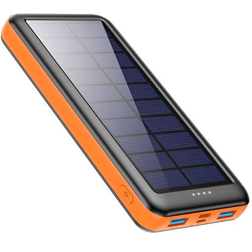 kilponen Solar Powerbank 26800mAh Solar Ladegerät USB C, Power Bank mit 3 Eingänge & 2 Ausgänge Hohe Kapazität Externer Akku Schnellladung Tragbares Ladegerät für Handy, Tablets und mehr USB-Geräten