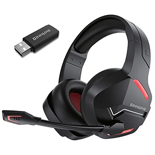 BINNUNE Wireless Gaming Headset Bluetooth mit Mikrofon für PS4 PS5 PC Mac Switch PlayStation, Gamer Kopfhörer Kabellos, 48 Stunden Akkulaufzeit, 3.5mm Klinke für Xbox One Series