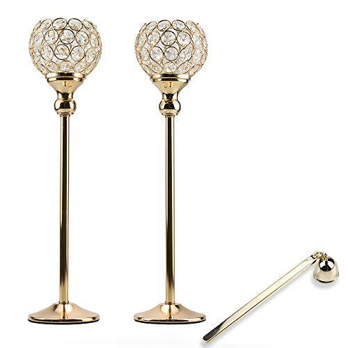 Lindlemann Tall Crystal Candle Holders - Set of 2, with Candle Snuffer - Ornate centerpieces for Tables - for Use with Candlesticks, Tealight, Voltive and Flameless Candles [Gold, 17 inches]