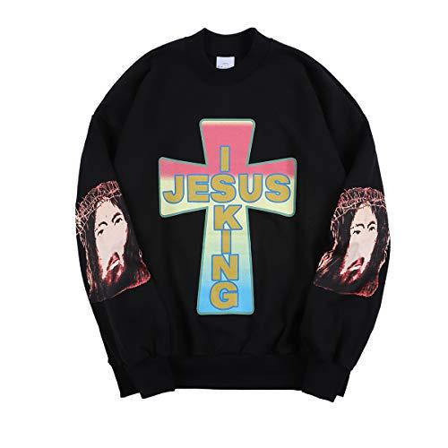 AWGE for Jesus Is King Hipster Tracksuits Stylish Athletic Sweatshirts Hip Hop Rapper Oversized Pullver Black
