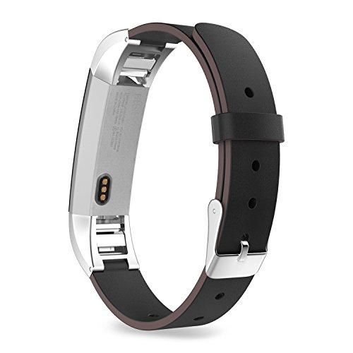 "MoKo Fitbit Alta/Alta HR Watch Cinturino, Morbido Cinturino di Vera Pelle per Fitbit Alta/Alta HR Smart Fitness Tracker, Adatto al Polso 5.31\""-8.07\"" (135mm-205mm), Nero"
