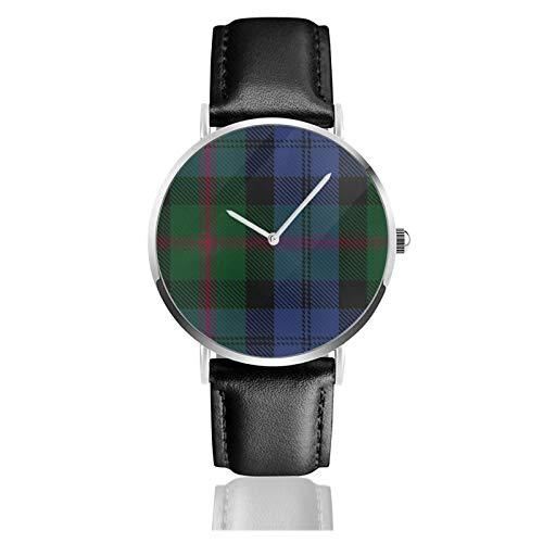 Reloj de cuero Clan Baird Tartan grande unisex clásico casual moda reloj de cuarzo reloj de acero inoxidable con correa de cuero
