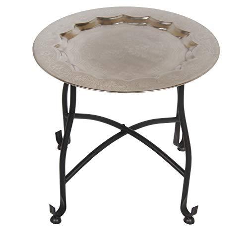 Casa Moro Orientalischer Teetisch Safi D40 | Beistelltisch mit Silbertablett & klappbarem Gestell in schwarz | Handmade Gartentisch Camping-Tisch | Kunsthandwerk aus Marrakesch