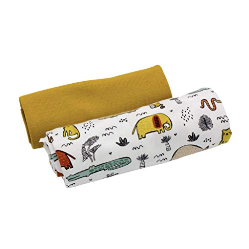 Kleines Stoffpaket - 0,5m Bio-Baumwoll-Jersey Stoff + 0,5m Bio-Bündchen - zum Nähen von Kinderbekleidung - Kinderstoff - Muster-Mix - Stoffset - Safari Animal weiß + Bündchen senf