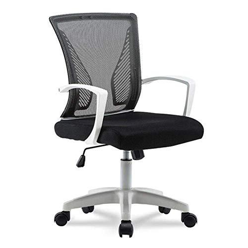 JIEER-C Leisure Chairs Office Chair Swivel Mesh huidvriendelijk verstelbare armsteun Lumbar houder Computer Desk stoelen Duurzaam Strong White frame Zwart
