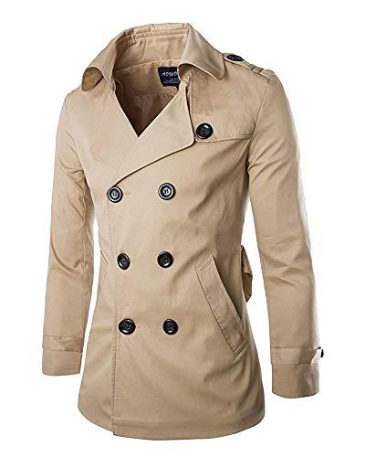 Herrenmantel Lang Herbst Winterjacke Slim Mantel Classic Fit Warm Trenchcoat Outfit Unique Gemütlich Übergang Mäntel (Color : Khaki, Size : XL)
