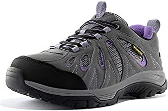 Wantdo Women's Waterproof Hiking Shoes Winter Trekking Shoes for Women Non-Slip and Breathable Lightweight Outdoor Trail Hiker Running Boots Grey Viola 9 M US